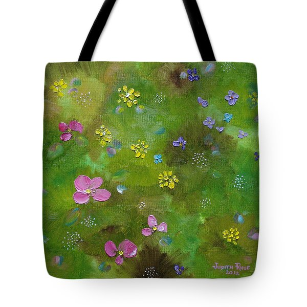 Tote Bag featuring the painting Wildflower Support by Judith Rhue