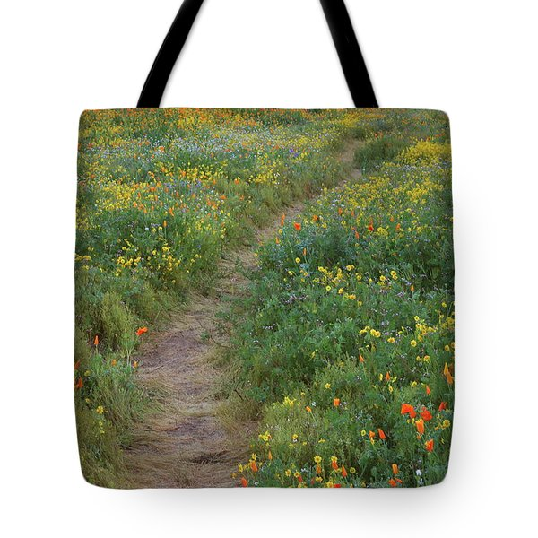 Tote Bag featuring the photograph Wildflower Trail At Diamond Lake In California by Jetson Nguyen