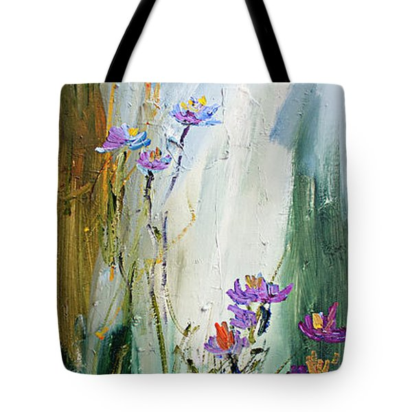 Wildflowers And Bees Oil Painting Tote Bag