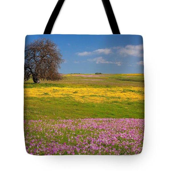 Wildflowers And Oak Tree - Spring In Central California Tote Bag