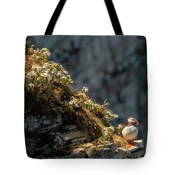 Tote Bag featuring the photograph Wildflowers And Puffin  by Cliff Norton