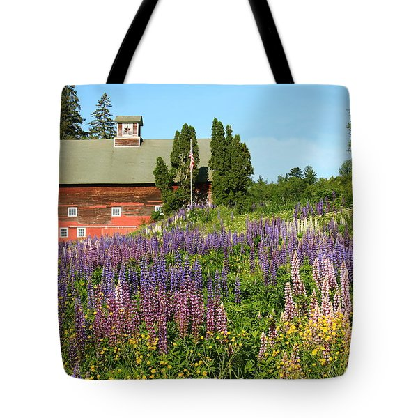 Tote Bag featuring the photograph Wildflowers And Red Barn by Roupen  Baker