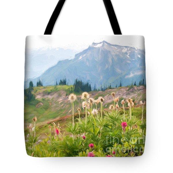 Wildflowers And The Tatoosh Tote Bag by Sharon Seaward