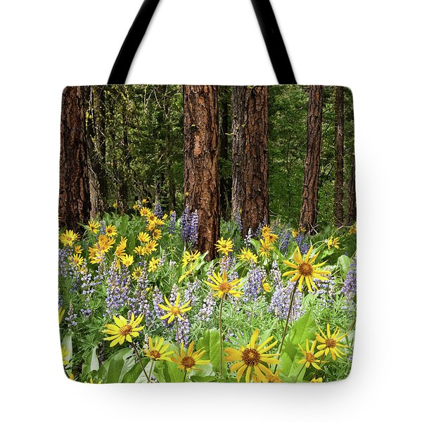 Balsamroot And Lupine In A Ponderosa Pine Forest Tote Bag