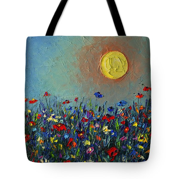 Wildflowers Meadow Sunrise Modern Floral Original Palette Knife Oil Painting By Ana Maria Edulescu Tote Bag
