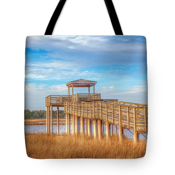 Wildlife Viewing Pier Tote Bag by Marion Johnson
