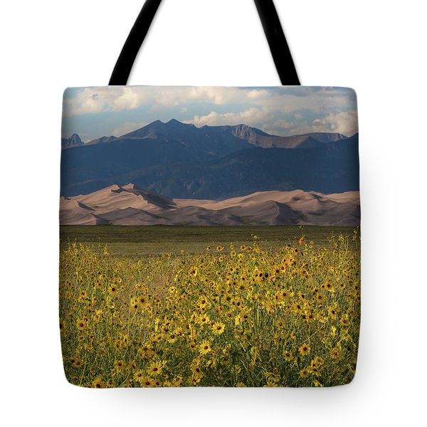 Wild Sunflowers Shine In The Grasslands Of The Great Sand Dunes N Tote Bag