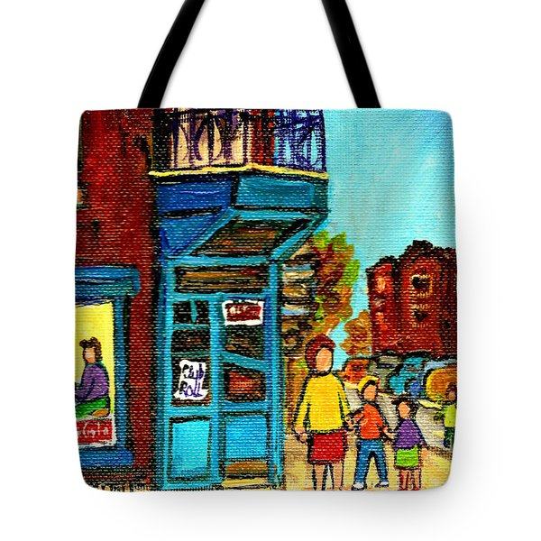 Wilensky's Counter With School Bus Montreal Street Scene Tote Bag by Carole Spandau