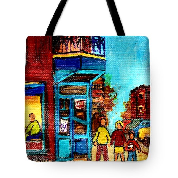 Wilensky's Lunch Counter With School Bus Montreal Street Scene Tote Bag by Carole Spandau
