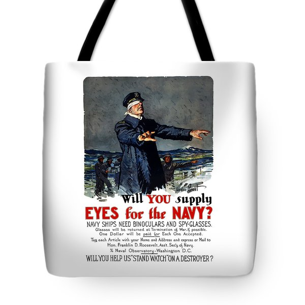 Will You Supply Eyes For The Navy Tote Bag by War Is Hell Store