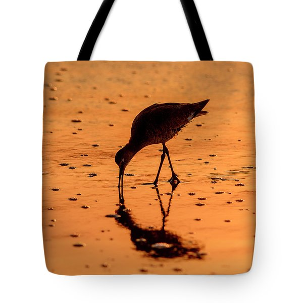 Tote Bag featuring the photograph Willet On Sunrise Surf by Steven Sparks