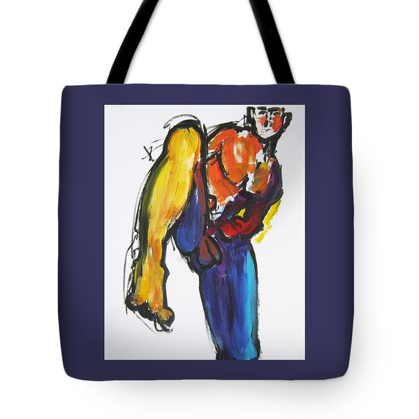 Tote Bag featuring the painting William Flynn Kick by Shungaboy X