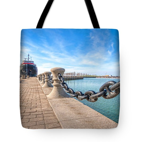 William G. Mather At Harbor Tote Bag by Brent Durken