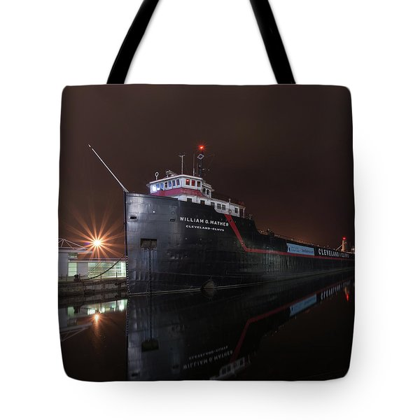 William G Mather At Night  Tote Bag