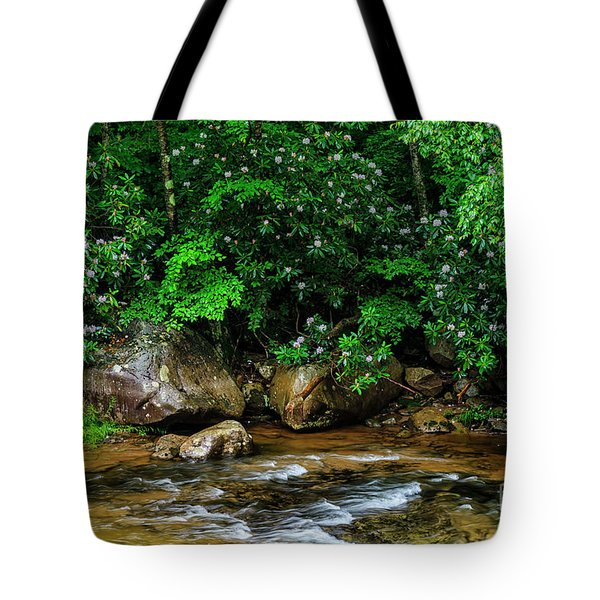 Williams River And Rhododdendron Tote Bag