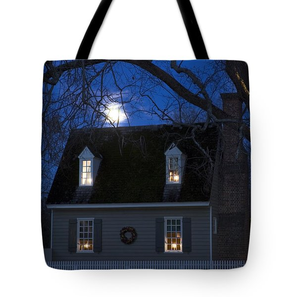 Williamsburg House In Moonlight Tote Bag by Sally Weigand