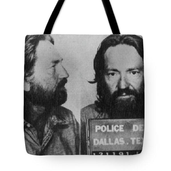 Willie Nelson Mug Shot Horizontal Black And White Tote Bag