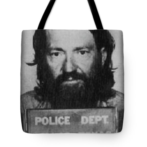 Willie Nelson Mug Shot Vertical Black And White Tote Bag