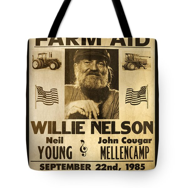 Willie Nelson Neil Young 1985 Farm Aid Poster Tote Bag