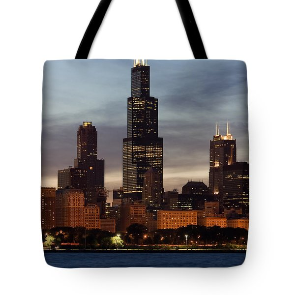 Willis Tower At Dusk Aka Sears Tower Tote Bag by Adam Romanowicz
