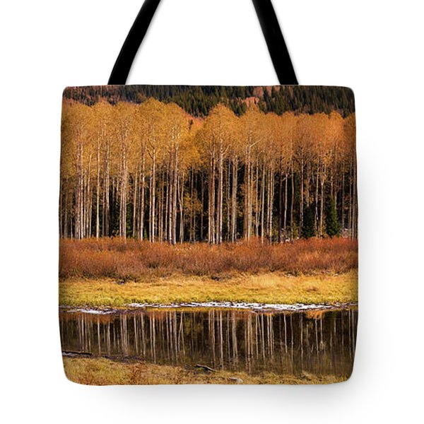 Willow Lake Pano Tote Bag