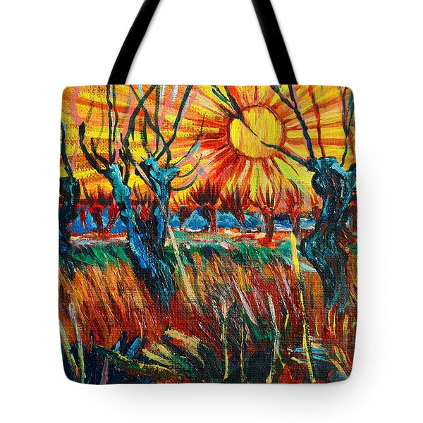 Willows At Sunset - Study Of Vincent Van Gogh Tote Bag by Karon Melillo DeVega