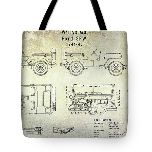 Willys Jeep Blueprint Tote Bag