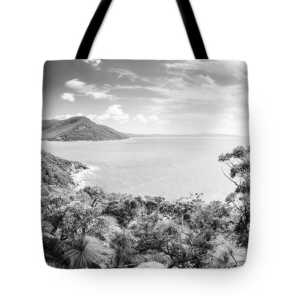Tote Bag featuring the photograph Wilsons Promontory Panorama Black And White by Tim Hester
