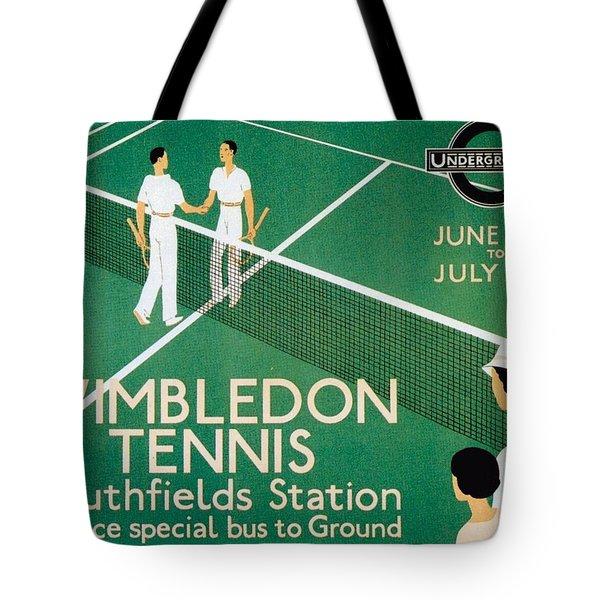 Wimbledon Tennis Southfield Station - London Underground - Retro Travel Poster - Vintage Poster Tote Bag