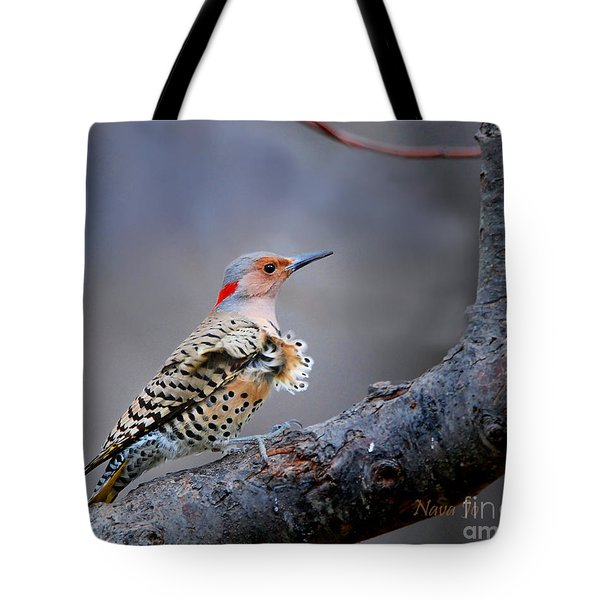 Tote Bag featuring the photograph Wind Blown Flicker by Nava Thompson