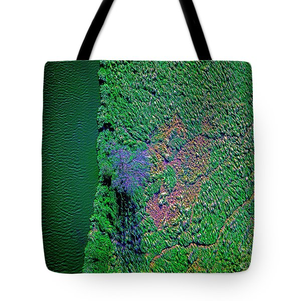 Wind Blown Marsh Tree And Water Tote Bag
