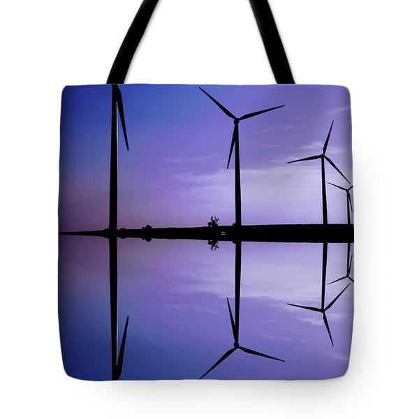 Wind Energy Turbines At Dusk Tote Bag