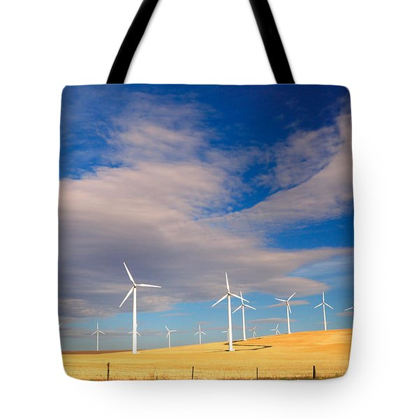 Wind Farm Against The Sky Tote Bag