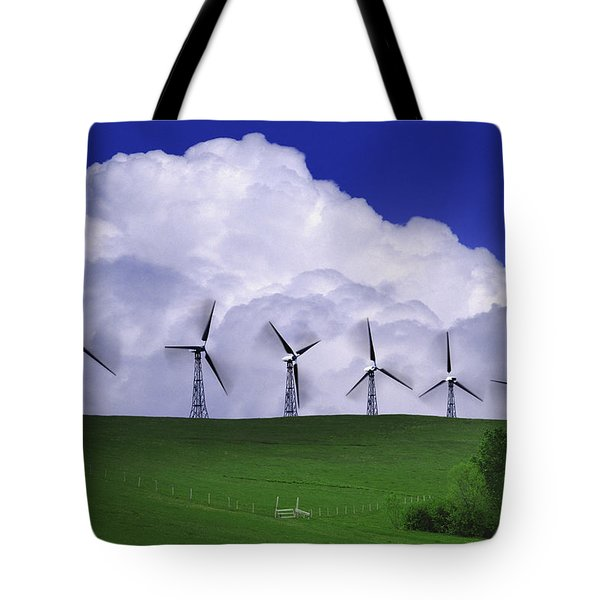 Wind Generators With Clouds In Tote Bag by Don Hammond