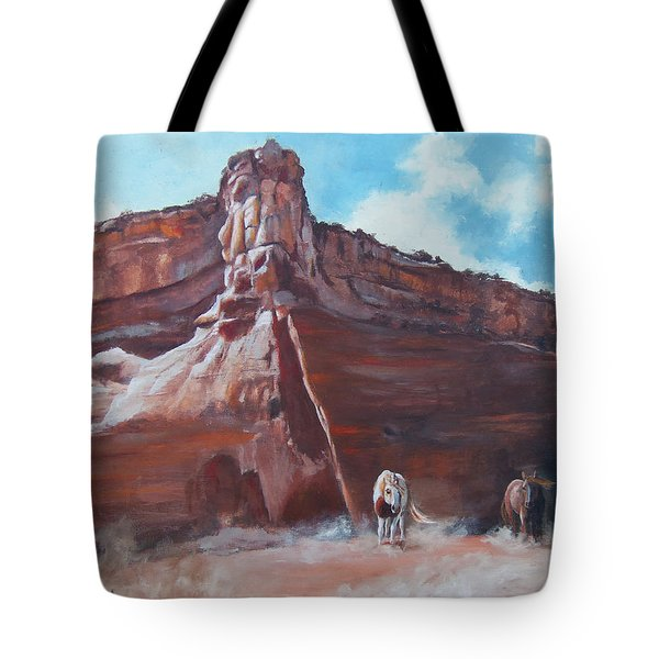 Tote Bag featuring the painting Wind Horse Canyon by Karen Kennedy Chatham