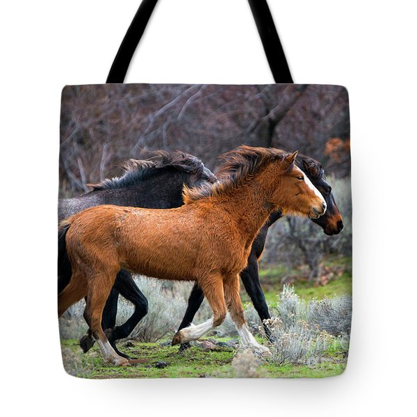 Tote Bag featuring the photograph Wind In The Manes by Mike Dawson