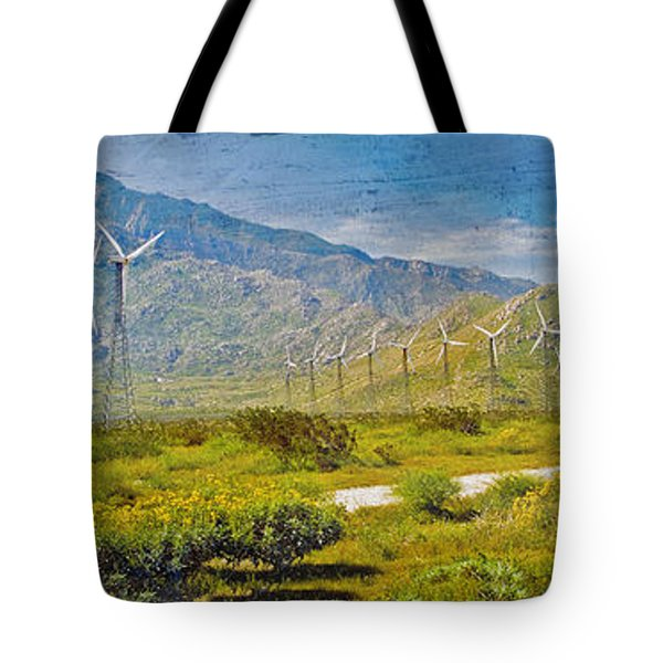 Tote Bag featuring the photograph Wind Turbine Farm Palm Springs Ca by David Zanzinger
