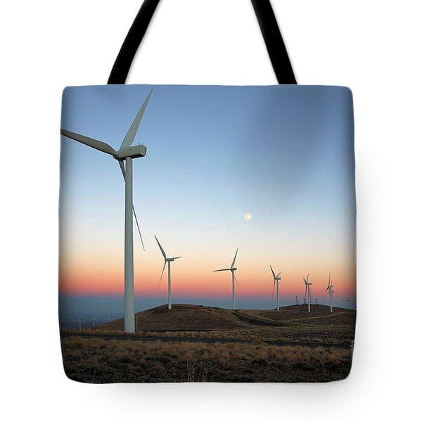 Wind Turbines At Moonrise Tote Bag