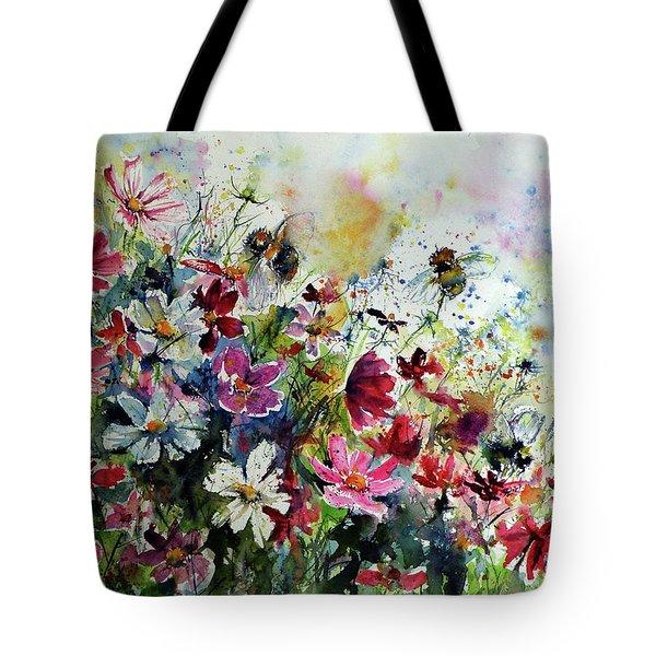 Windflowers With Bees II Tote Bag