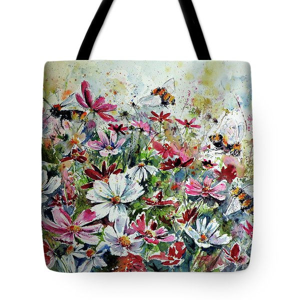 Windflowers With Bees Tote Bag