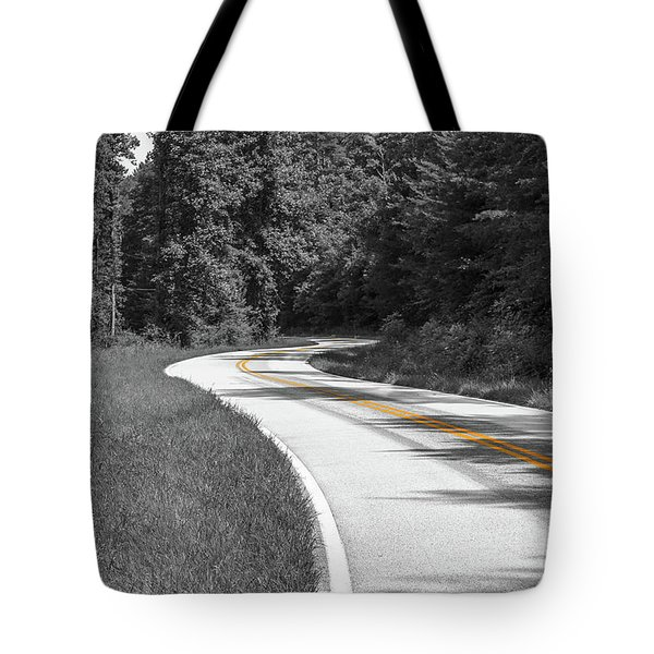 Tote Bag featuring the photograph Winding Country Road In Selective Color by Doug Camara