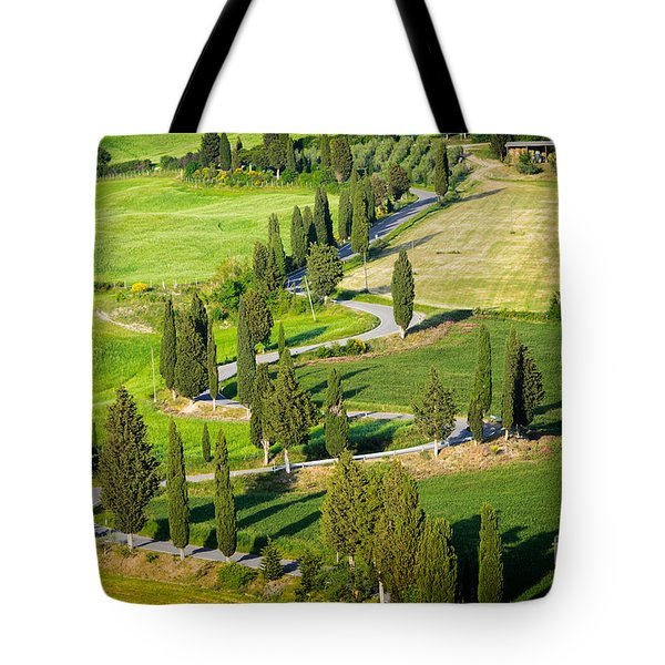 Tote Bag featuring the photograph Winding Cypress Lined Road Of Monticchiello by IPics Photography