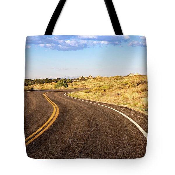 Winding Desert Road At Sunset Tote Bag