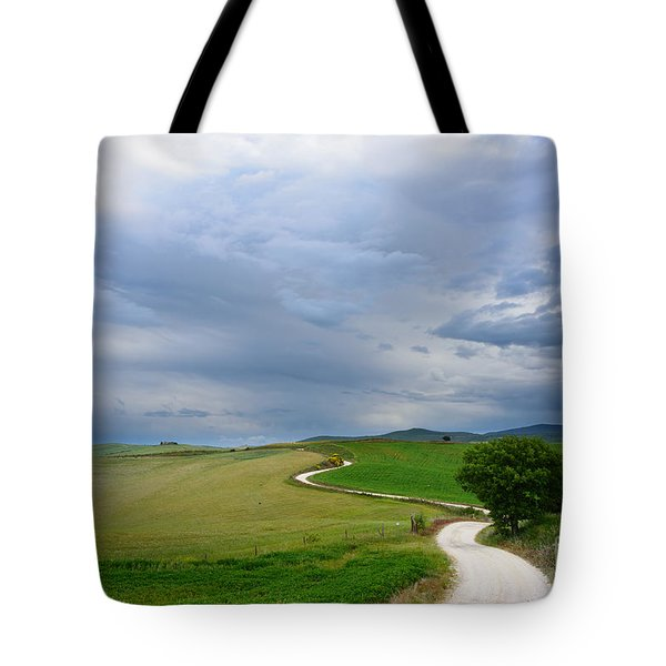 Winding Road To A Destination In A Tuscany Landscape Tote Bag