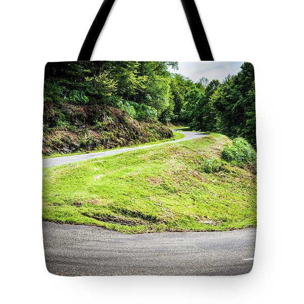 Tote Bag featuring the photograph Winding Road With Sharp Bend Going Up The Mountain by Semmick Photo