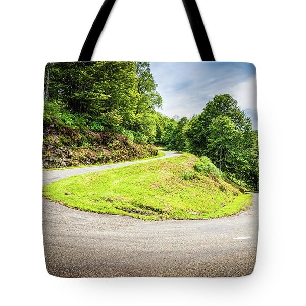 Tote Bag featuring the photograph Winding Road With Sharp Curve Going Up The Mountain by Semmick Photo