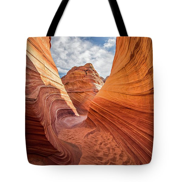 Tote Bag featuring the photograph Winding Stripes Of Sandstone by Wesley Aston