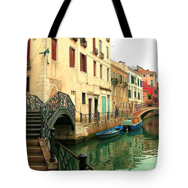 Winding Through The Watery Streets Of Venice Tote Bag by Barbie Corbett-Newmin