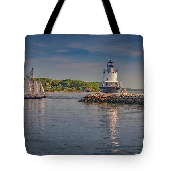 Windjammer At Spring Point Ledge Lighthouse Tote Bag