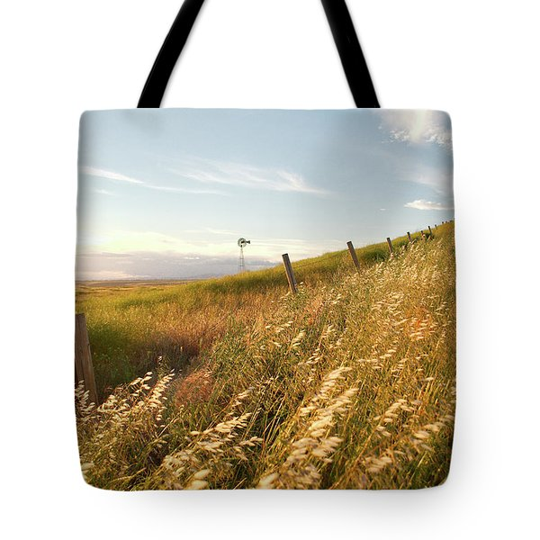 Windmill And The Fence Sundown Tote Bag